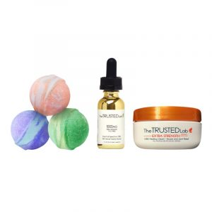 The Trusted Lab CBD Body Renewal Set (Cream + Tincture + 3 Bath Bombs) - anxiety relief, pain relief