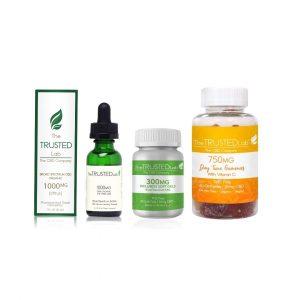 CBD set, CBD oil, CBD gummies, CBD soft gels