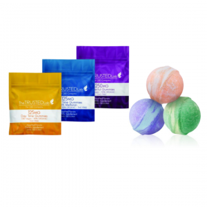 Image shows the DayTime gummy 5 pack, the NightTime gummy 5 pack, the Powerful gummy 5 pack, and a purple, pink, and green CBD bath bombs.